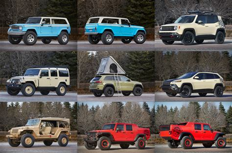jeep lineup 2015 jeep reveals full concept lineup for 2015 easter jeep