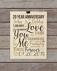 20th anniversary gift unique custom wall art choose your With gift for 20th wedding anniversary
