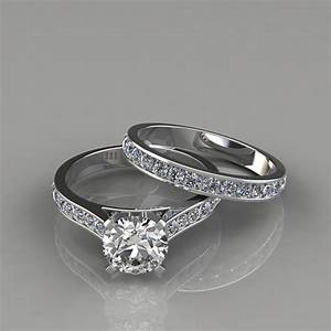 cathedral engagement ring and wedding band set With ring and wedding band
