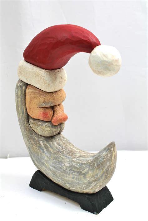 primitive vintage hand carved wood santa claus crescent