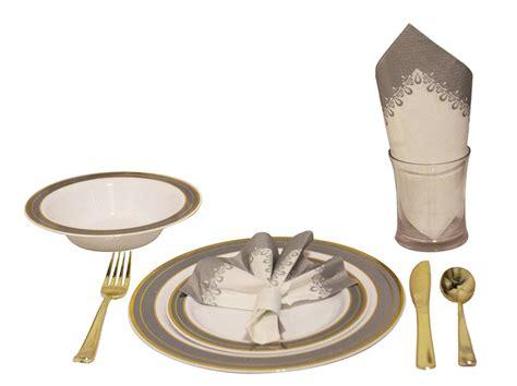 dinnerware plastic silver trim service tigerchef heavyweight premium