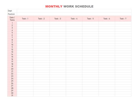work schedule template daily weekly monthly  excel