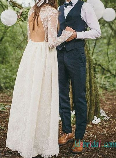 lace open  long sleeve woodland wedding dress