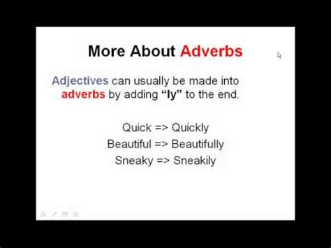 Adverbs And Adjectives  English Grammar Lesson Parts Of Speech Youtube
