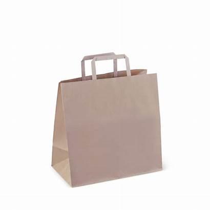 Paper Bag Handle Flat Fold Bags Brown