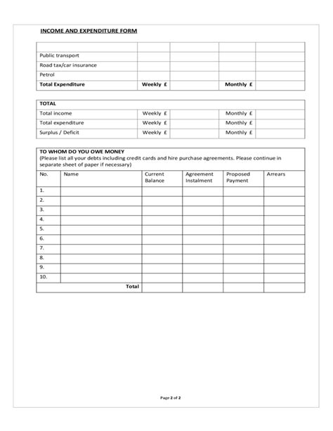 Income and Expenditure Form Sample Free Download