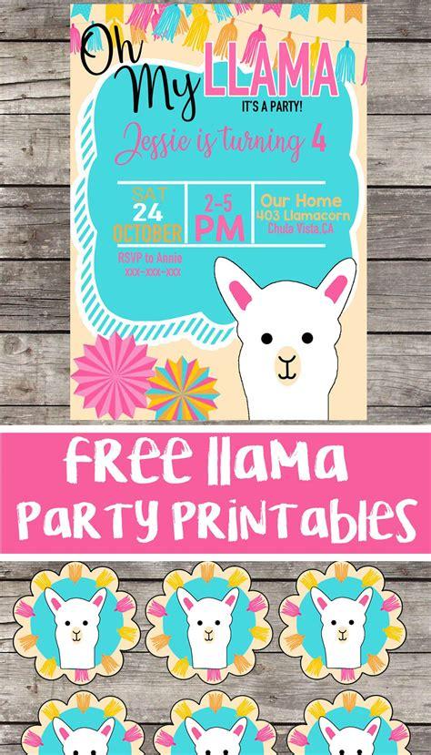 llama birthday party printable files invitation