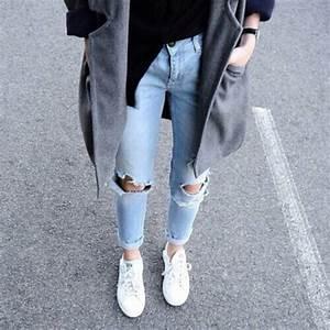 Jeans light washed denim acid wash boyfriend jeans knee hole jeans ripped jeans large coat ...