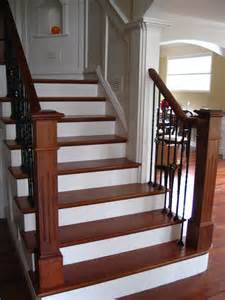 Carpet Treads For Wood Stairs by Brazilian Cherry Handrail Custom Made Posts Wrought Iron