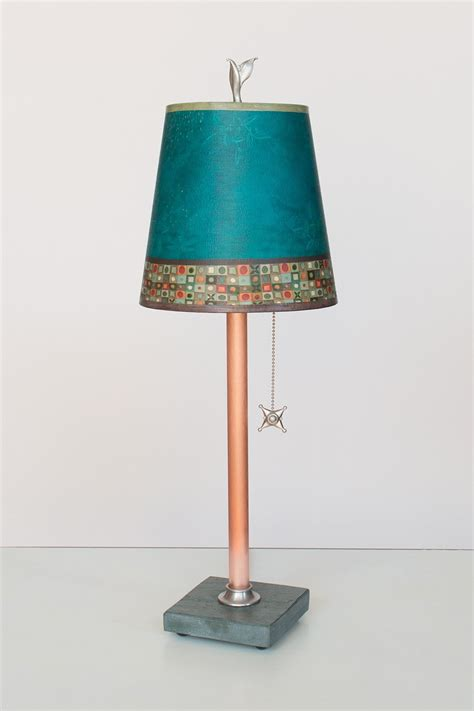 small drum l shade copper table l with small drum shade in jade mosaic by