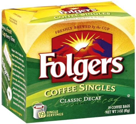 Brew a cup of delicious coffee right in your own 1. Folgers Classic Medium Roast Decaffeinated Coffee Singles, 19-Count Singe Servings (Pack of 6)