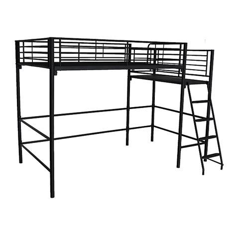 fly chaise bureau lit mezzanine 2 places noir avec plateforme 140x200cm