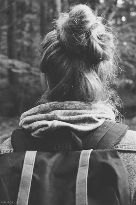 b&,w, backpack, bun, girl, grunge, hair, hipster, hoodie