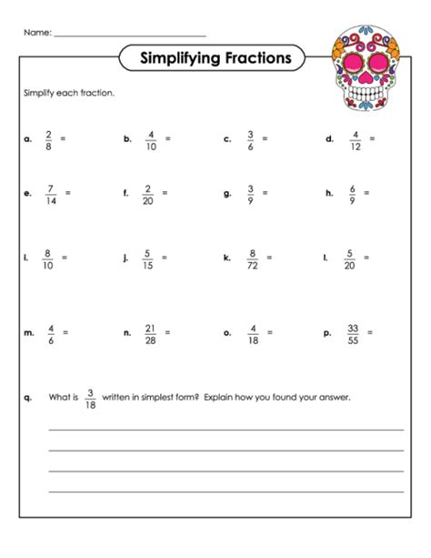 Worksheet Reducing Fractions Simplest Form  Simplifying Fractions Worksheets Dr Mike S Math