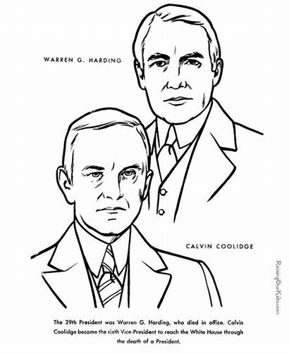 Harding Warren Coloring Facts President Printable Presidents