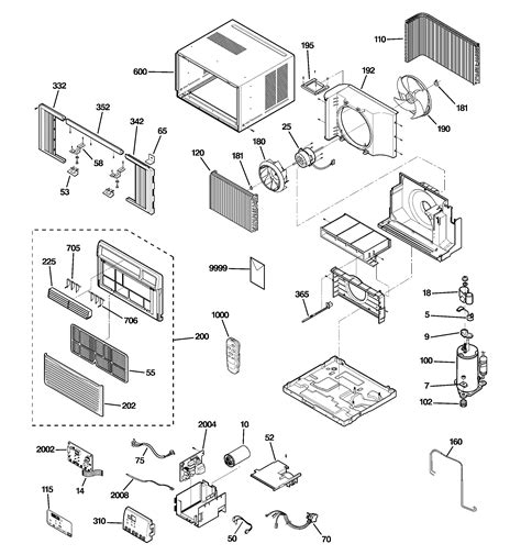 room air conditioner diagram parts list for agh08ahg1 ge parts room air conditioner