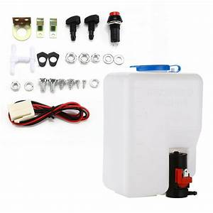 Universal 12v Windshield Washer Tank Pump Bottle Kit Fluid