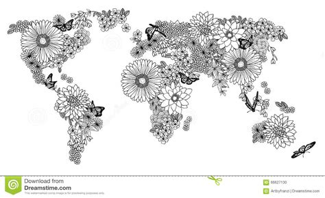 floral world map  coloring books stock vector