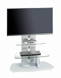 Tv Halterung Höhenverstellbar : tv rack wei glas metallgestell aus geb rstetem aluminium tv halterung schwenk und ~ Whattoseeinmadrid.com Haus und Dekorationen