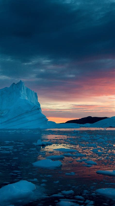 greenland snow sunset sea iphone greenland snow sunset sea iphone wallpaper