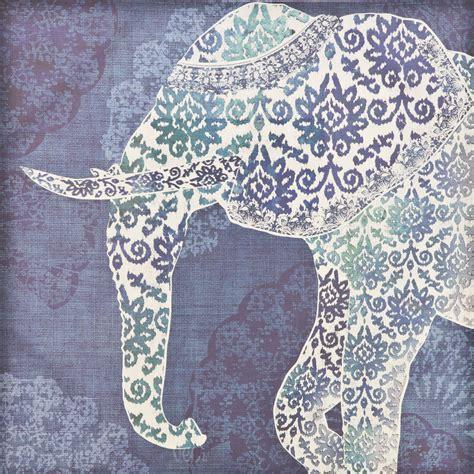 Casa Paisley Elephant Print, Blue   Leekes