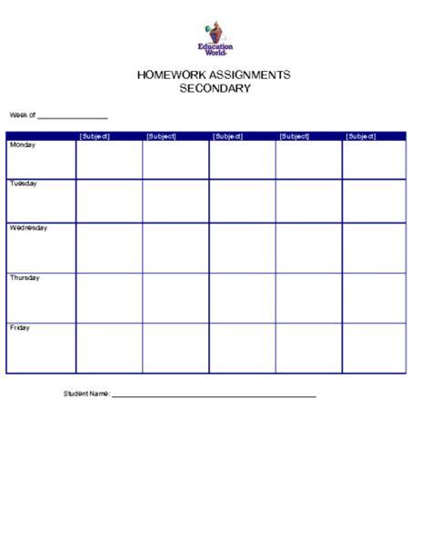 homework template secondary homework assignment organizer template education world