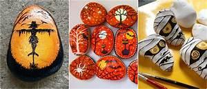 steine, bemalen, -, halloween, motive
