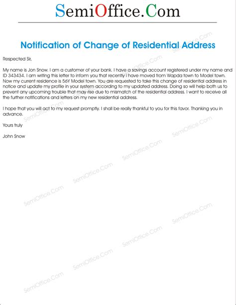 Yours faithfully, for morrison & sons. Change of Residential Address Letter