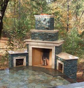 Outdoor Stone Fireplace Warming Up Exterior Space