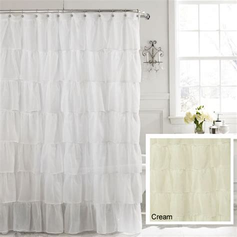 shabby chic fabric shower curtains cream 72 quot gypsy shabby chic ruffled fabric shower curtain