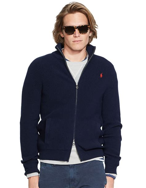 ralph polo sweaters polo ralph zip cotton sweater in blue for