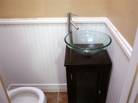 bath shower awesome half bathroom ideas with white wainscoting and glass round bowl sink plus