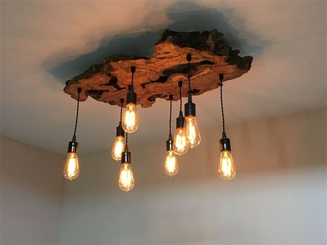 handmade live edge olive wood chandelier rustic and industrial light fixture by 7m woodworking
