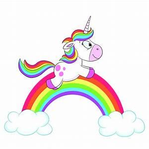 Leinwandbild Einhorn Regenbogen Emob