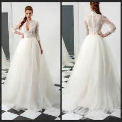 wedding dress 3 4 sleeve stunning winter 3 4 sleeve wedding dresses sheer illusion 2015 appliques ivory lace tulle
