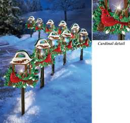 christmas red birds outdoor pathway light set holiday yard decor new 10 piece home for the