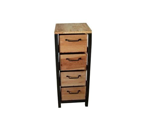 bureau bois acier petit meuble de rangement chiffonnier industriel en acier