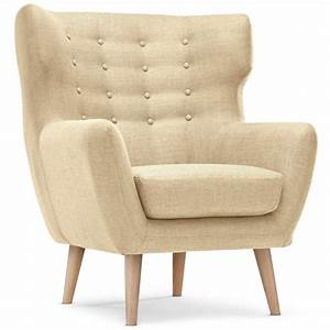 Fauteuil design quotedenquot 105cm beige for Fauteuil design beige
