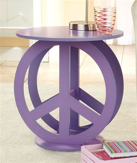 Peace Sign Decorations For Bedrooms by Retro Hippie Room Purple Hippy Peace Sign Table New