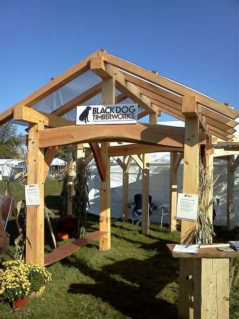hand crafted timber frame pavilion  black dog