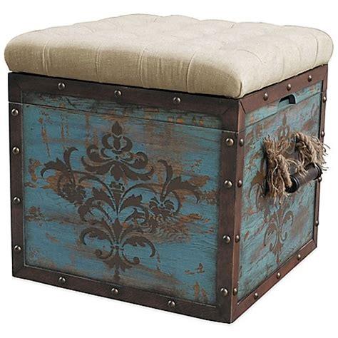 Blue Ottoman Storage by Buy Pulaski Damask Crate Storage Ottoman In Blue