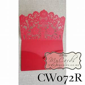red lasercut pocket wedding invitation cover cw072r With embossed wedding invitations nz