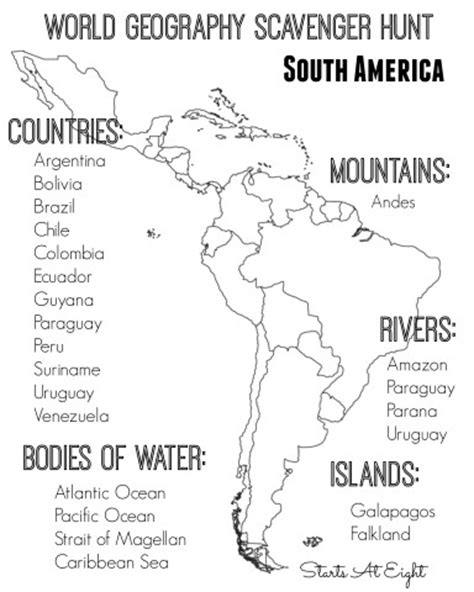 geography worksheets south america world geography scavenger hunt south america free