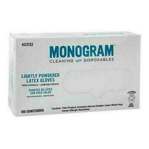 monogram disposable cleaning gloves lightly powered medium  count lot   ebay
