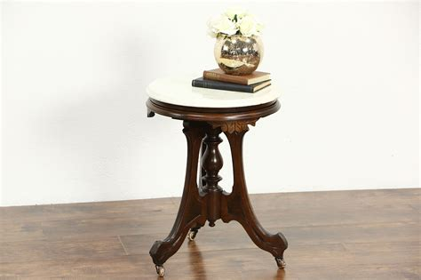 sold victorian  antique  chairside table  pedestal marble top harp gallery