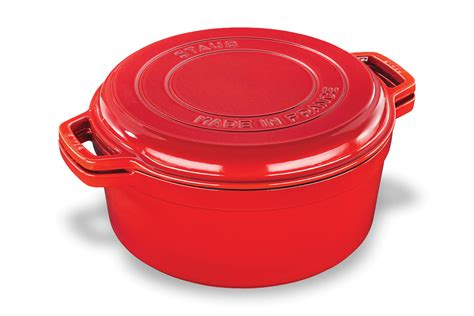 staub braise grill  dutch oven  grill pan lid  quart cherry red cutlery
