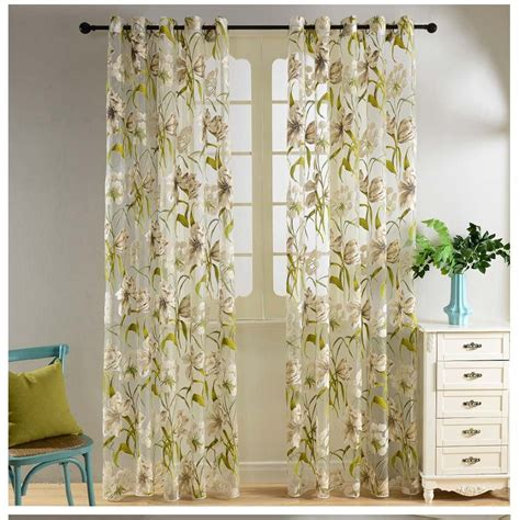 printed drapes curtains printed floral sheer voile window eyelet curtains panels