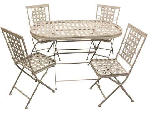 woodside oval metal table four square chairs furniture