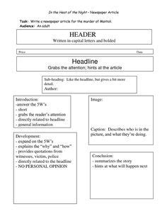 worksheet how to write a newspaper article