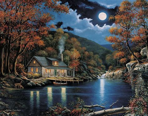 cabin by the lake zaccheo cabin by the lake painting cabin by the